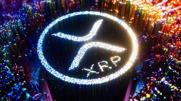 Символ логотипа цифрового искусства xrp. футуристическая 3d иллюстрация ripple cryptocurrency.
