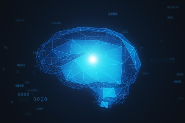 Цифровой мозг искусственного интеллекта в облаке двоичных данных