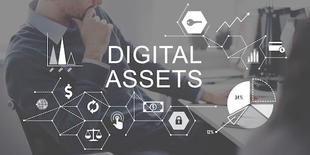 Concetto di sistema di gestione aziendale di risorse digitali