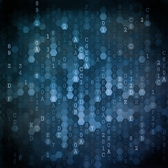 Digital background. series of numbers of blue color falling down.