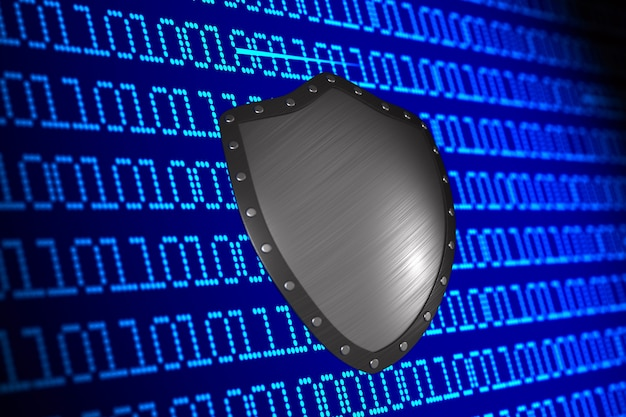Digital binary code and shield on blue surface. 3d illustration.
