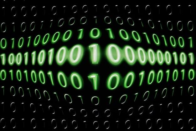 Digital binary data and streaming binary code on computer screen