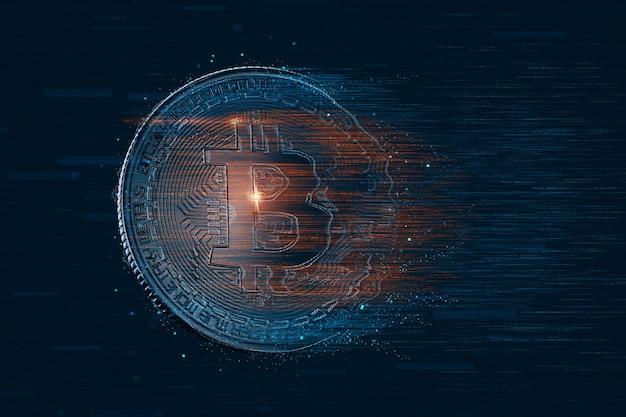 Цифровая биткойн-монета. концепция криптовалюты