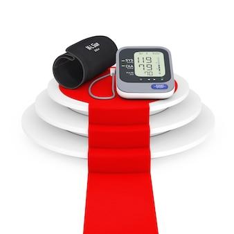 흰색 배경에 레드 카펫이 있는 우승자 연단 위에 커프가 있는 디지털 혈압 모니터. 3d 렌더링.