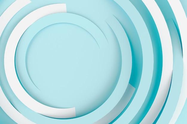 多くの回転リングのデジタルブルーの背景と中央の3dイラストのフレームを形成します