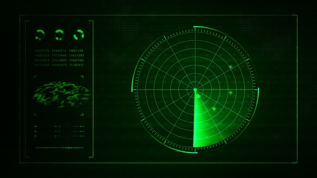 Digital blue realistic radar with targets on monitor in searching