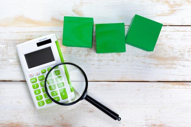 Digital calculator on table