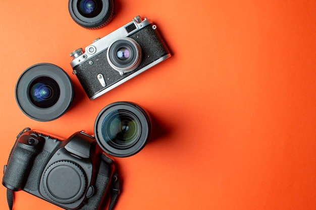 Digital camera and film camera with a set of lenses