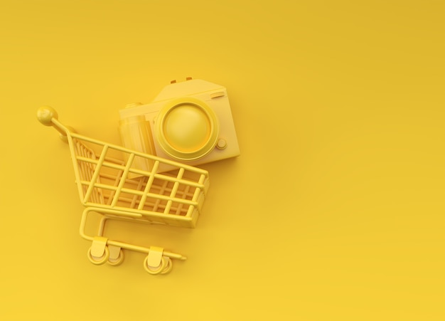 Digital camera inside shopping cart, 3d rendering isolated on color background