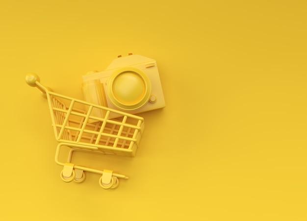 쇼핑 카트 내부 디지털 카메라, 색상 배경에 고립 된 3d 렌더링