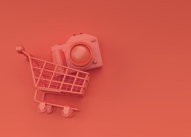 Цифровая камера внутри корзины, 3d-рендеринг, изолированные на цветном фоне