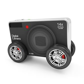 흰색 배경에 고립 된 바퀴에 디지털 카메라