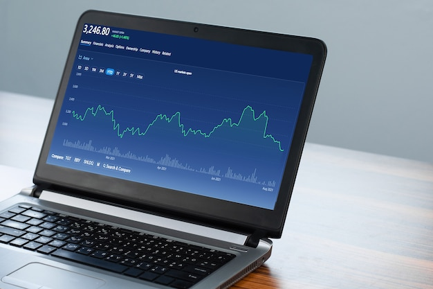 Digital chart on computer trading online at home, online trade stock exchange