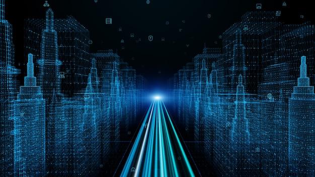 디지털 시티 입자 및 디지털 데이터 네트워크 연결이있는 디지털 사이버 공간