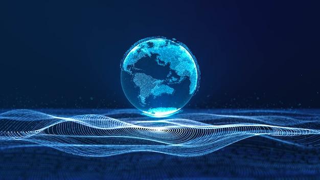 サイバースペース粒子波動のネオンデータサークルグリッドに浮かぶデジタルクラウドアース、抽象的な3dレンダリング現代の未来技術イラストの背景、デジタル時代のグローバルな世界の接続性