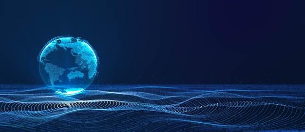 Цифровая облачная земля, плавающая на неоновой сетке круга данных в волне частиц киберпространства, абстрактная 3d-рендеринг фона иллюстрации современных футуристических технологий, глобальная мировая связь в цифровую эпоху Premium Фотографии