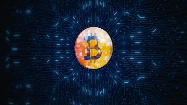 디지털 cryptocurrency bitcoin 기호 회로 기판