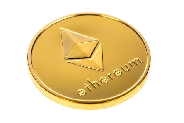Digital cryptocurrency ethereum isolated on white
