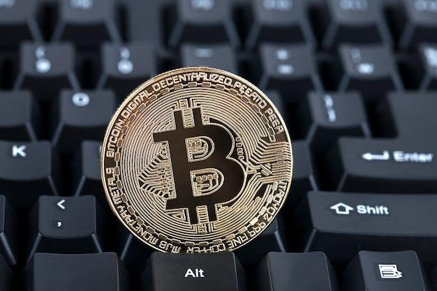 Digital currency, bitcoin on keyboard
