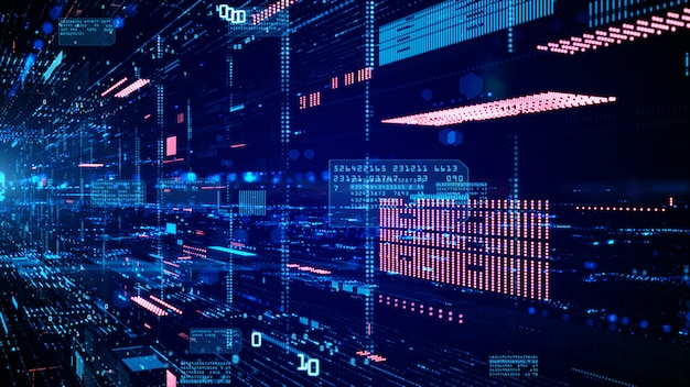 디지털 사이버 공간 및 데이터 네트워크 연결.