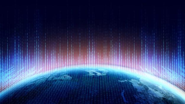 디지털 사이버 공간 및 디지털 데이터 네트워크 연결 개념. 인터넷 비즈니스를위한 통신 기술. 이진 코드.
