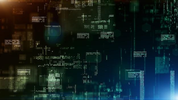 デジタルサイバースペースとデジタルデータネットワーク接続の概念。転送デジタルデータ高速インターネット、未来の技術デジタル抽象的な背景の概念。