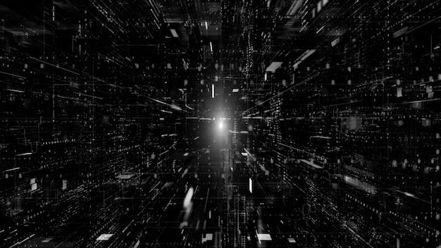 デジタルサイバースペースとデジタルデータネットワーク接続の概念