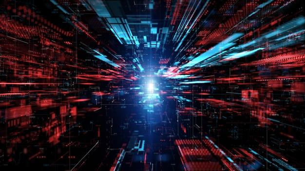 디지털 사이버 공간 및 디지털 데이터 네트워크 연결 개념