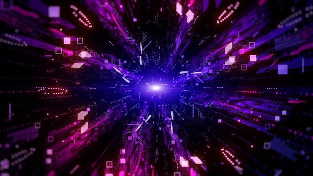 Цифровое киберпространство, цифровая частица, концепция абстрактного фона технологии будущего