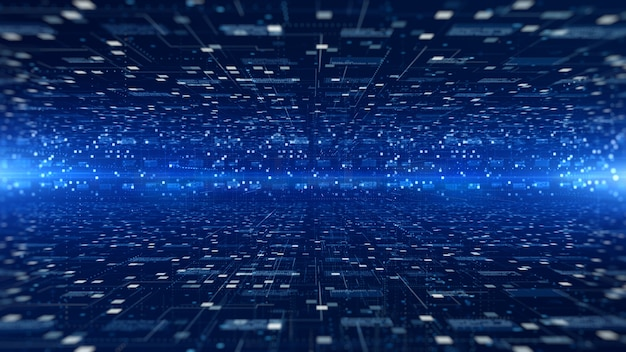 未来的なデジタルサイバースペース、デジタルデータマトリックスの流れと照明、高速接続データ分析プロセスの抽象的な背景。