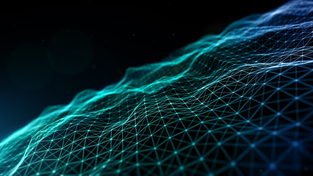 Цифровое киберпространство футуристические частицы волна течет