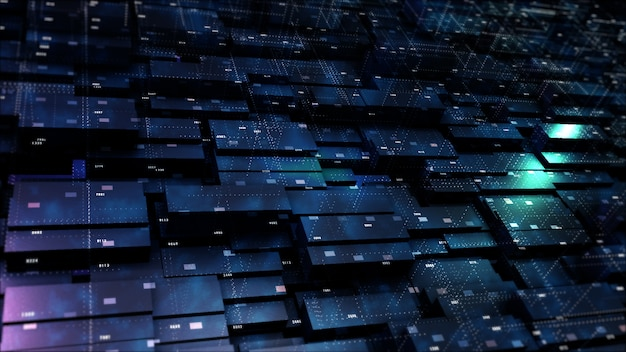 Digital cyberspace geometric background with particles and digital data network connections.