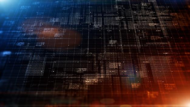 Цифровое киберпространство с концепцией абстрактного фона частиц