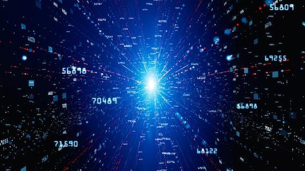 Цифровое киберпространство с частицами и концепции цифровых сетевых подключений данных.