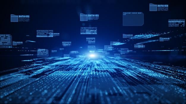 입자 및 디지털 데이터 네트워크 연결을 갖춘 디지털 사이버 공간, 미래 기술 디지털 요약 프리미엄 사진