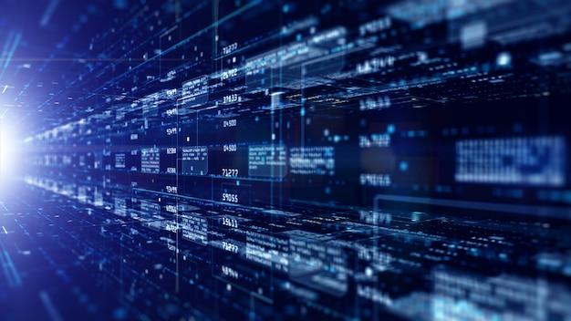 입자 및 디지털 데이터 네트워크 연결이있는 디지털 사이버 공간. 고속 연결 데이터 분석 미래 배경 개념.