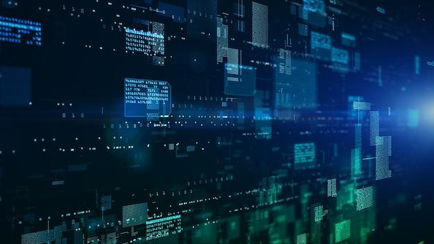 입자 및 디지털 데이터 네트워크 연결이있는 디지털 사이버 공간 고속 연결