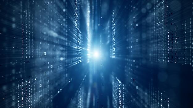 Цифровое киберпространство с частицами и цифровыми сетями данных