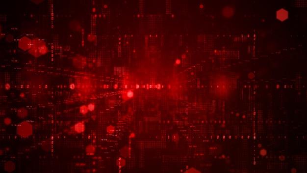Цифровое киберпространство с частицами и подключениями к цифровой сети передачи данных