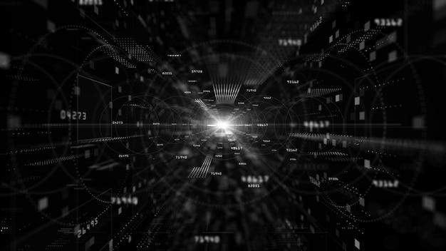 Цифровое киберпространство с частицами и сетью цифровых данных