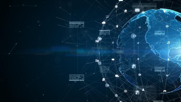 디지털 데이터 연결, 기술 네트워크 및 사이버 보안 개념, 디지털 사이버 공간 미래 배경 개념.