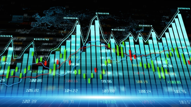 Digital data financial investment and trading trends financial diagram