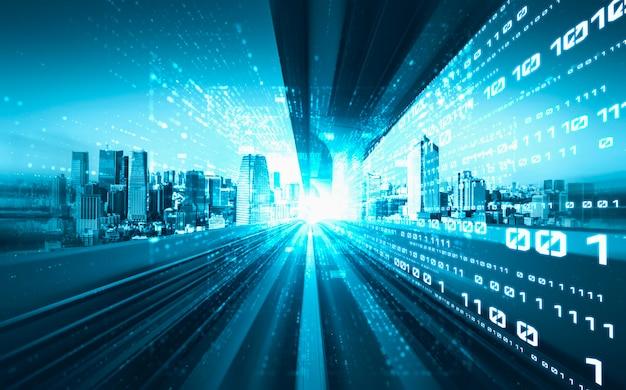 Поток цифровых данных на дороге с размытием движения для создания видения быстрой передачи