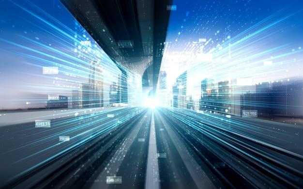 高速転送のビジョンを作成するためのモーションブラーを使用した道路上のデジタルデータフロー