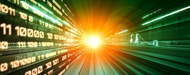 Поток цифровых данных на дороге с размытием движения для создания представления о быстрой передаче