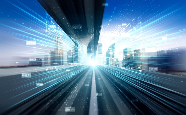 Digital data flow on road with motion blur to create vision of fast speed transfer