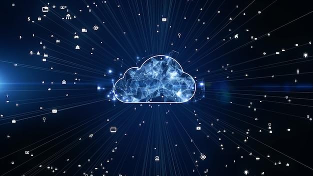 디지털 데이터 네트워크 연결 클라우드 컴퓨팅 및 글로벌 커뮤니케이션
