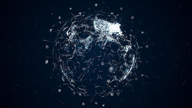 아이콘 및 글로벌 커뮤니케이션을 통한 디지털 데이터 네트워크 연결. 고속 연결 데이터 분석, 기술 배경 개념.