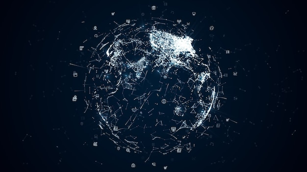 Digital data network connections with icon and global communication. high-speed connection data analysis, technology background concept.