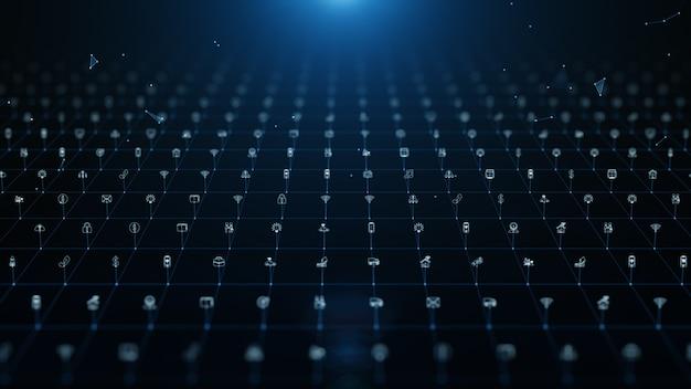 Подключения к сети цифровых данных с иконой глобальной связи.